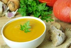 乳脂状的南瓜汤 烹调的成份在背景 库存照片