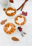 乳脂状的奶油甜点用在玻璃圣代冰淇淋盘的桂香 免版税库存照片