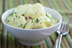 乳脂状的德国土豆沙拉 免版税库存照片