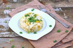 乳脂状的意大利煨饭用在白色板材的韭葱在土气桌上的棕色布料 免版税库存照片