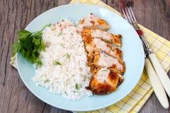 乳脂状的椰子鸡肉和大米 库存照片