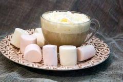 乳脂状的热奶咖啡 库存图片