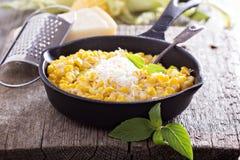 乳脂状的玉米用巴马干酪 图库摄影