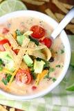 乳脂状的玉米粉薄烙饼汤 库存图片