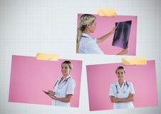 乳腺癌了悟与医生的照片拼贴画 库存图片