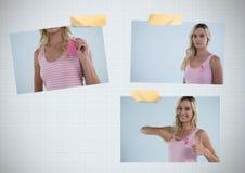乳腺癌了悟与妇女的照片拼贴画 库存图片
