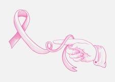 乳腺癌了悟丝带人的手手指d 库存照片