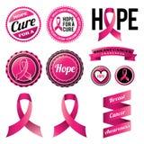 乳腺癌了悟丝带和徽章 免版税库存照片
