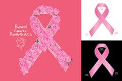 乳腺癌了悟丝带标志玫瑰色装饰 皇族释放例证