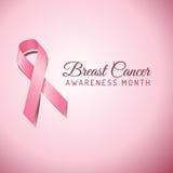 乳腺癌了悟丝带背景 免版税库存图片