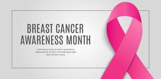 乳腺癌了悟月桃红色丝带背景传染媒介例证 向量例证