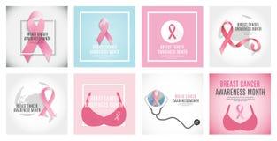 乳腺癌了悟月桃红色丝带背景汇集集合传染媒介例证 向量例证