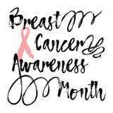 乳腺癌了悟月 关于乳腺癌了悟的激动人心的行情 免版税库存照片