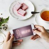 乳腺癌支持战斗关心希望图表概念 库存图片