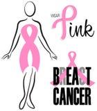 乳腺癌桃红色丝带夹子集合 库存图片