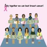 乳腺癌粉红色丝带 诊断的金钱 库存图片