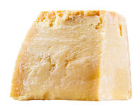 乳酪。在白色隔绝的巴马干酪片断 免版税库存照片
