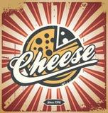 乳酪减速火箭的金属标志 库存例证