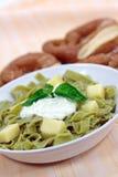 乳酪凝乳绿色意大利面制色拉酸奶 库存图片