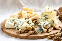乳酪和坚果不同的品种  库存照片