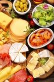 乳酪和开胃菜的各种各样的类型板被设置的 免版税库存照片