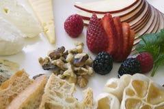 乳酪和果子开胃菜板材 库存图片