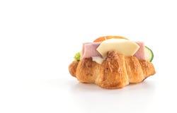 乳酪和火腿新月形面包 图库摄影