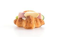 乳酪和火腿新月形面包 免版税图库摄影