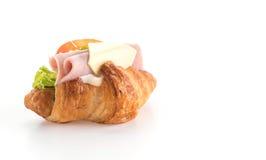 乳酪和火腿新月形面包 库存图片