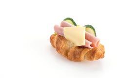乳酪和火腿新月形面包 免版税库存图片