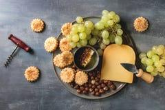 乳酪和葡萄开胃菜 免版税库存照片
