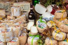 乳酪和酒, Piedmonte,意大利典型的产品  库存图片