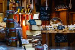 乳酪品种在显示的 库存照片