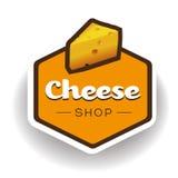 乳酪商店标签或徽章传染媒介 库存照片