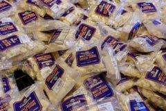 乳酪在显示的乳制品在Tillamook乳酪厂 库存照片