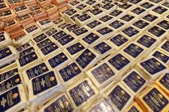 乳酪在显示的乳制品在Tillamook乳酪厂 免版税库存照片