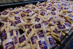 乳酪在显示的乳制品在Tillamook乳酪厂 免版税库存图片