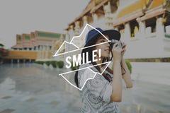 乳酪微笑享受乐趣愉快的幸福概念说 库存图片