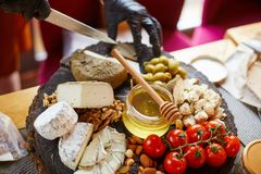 乳酪早午餐,青纹干酪,纤巧 库存图片
