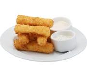 乳酪棍子用一个可口调味汁 库存照片