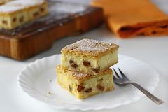 乳酪正方形用葡萄干,乳酪蛋糕 免版税图库摄影