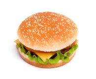 乳酪汉堡可口水多 免版税库存图片