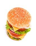 乳酪汉堡可口水多 库存照片