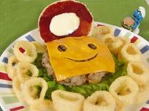 乳酪汉堡孩子 库存照片