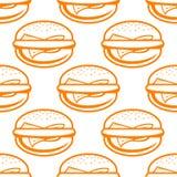乳酪汉堡无缝的样式 免版税图库摄影