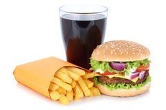 乳酪汉堡汉堡包和炸薯条菜单膳食组合可乐dri 免版税库存照片