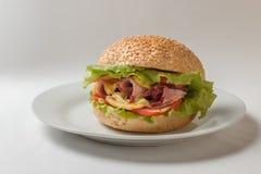 乳酪汉堡用火腿、蕃茄和沙拉 库存照片