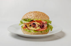 乳酪汉堡用火腿、蕃茄和沙拉 库存图片