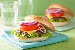 乳酪汉堡用牛肉小馅饼乳酪莴苣葱蕃茄 免版税库存图片