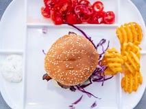 乳酪汉堡用红叶卷心菜,顶视图 免版税图库摄影